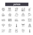 japan line icons signs set outline vector image vector image