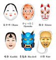 Japan masks I vector image vector image