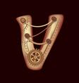 letter v of mechanic alphabet steampunk font vector image vector image