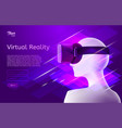 man in virtual reality headset design vector image vector image