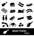 meat food icons and symbols set eps10 vector image vector image