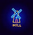 mill neon label vector image