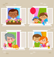 people at their homes looking out windows vector image