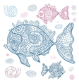 sea fish set hand drawn vector image