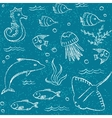 Sealife hand drawn seamless pattern vector image