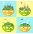 Set of ecology in flat style vector image