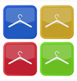 set of four square icons with clothes hanger vector image vector image
