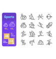 sports activity line icons set vector image
