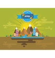 Spring landscape Small town vector image vector image