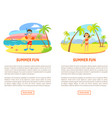 summer fun poster swimming equipments vector image vector image