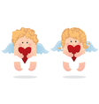 two angels and heart vector image