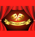 two golden mask on red curtain theater stage vector image vector image