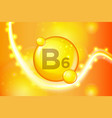 vitamin b6 gold shining pill capsule icon vector image