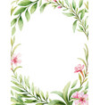 watercolor card pink flowers and green vector image vector image