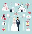 wedding elements invitation celebration set flat vector image vector image