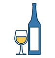 wine cup and bottle vector image vector image