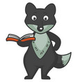 wolf stands with small book in red hardcover vector image vector image
