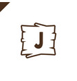 wooden alphabet or font blocks with letter j in vector image