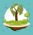 world planet with tree ecology icon vector image