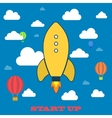 Yellow rocket and white cloud icon in flat style vector image vector image