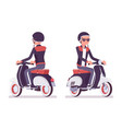 young man riding a scooter vector image