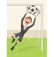 Football goalkeeper catches ball Penalty kick in vector image