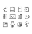 Business and office thin line icons vector image
