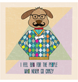 cool dog hipster hand draw vector image
