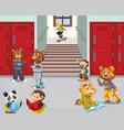 animal student at school hallway