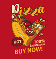 banner with slice of pizza in retro style vector image vector image