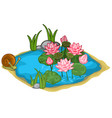 beautiful lake with snail reeds and lilies vector image vector image