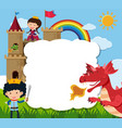 border template with prince saving princess from vector image vector image