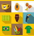 brazil country icon set flat style vector image vector image