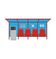 bus stop with seats and payment kiosk front and vector image vector image