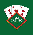casino club playing cards green background vector image vector image
