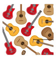 colorful background with electric guitars set vector image vector image