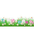 easter background with flowers grass vector image vector image