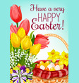 easter basket with eggs and flowers greeting card vector image vector image