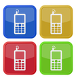 four square color icons old mobile phone vector image vector image