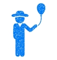 Gentleman With Balloon Grainy Texture Icon vector image vector image