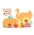 happy thanksgiving day card with turkey bird and vector image vector image