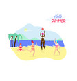 happy women playing and relaxing openair on sea vector image vector image