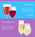 lets party and have fun pair glasses wine vector image vector image