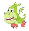 Little dragon on skates 2 vector image vector image