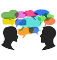 man and woman chat with speech bubbles vector image vector image
