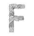 mandala letter f monogram adult coloring book vector image