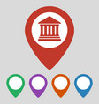 map pointer with bank icon on grey background vector image