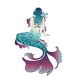 mermaid view from a back vector image