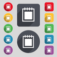 Notepad icon sign A set of 12 colored buttons and vector image vector image