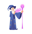 old wizard man in robe and hat stands with staff vector image